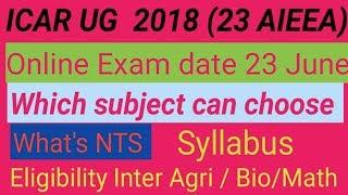 ICAR BSc Ag (UG) full information 2018