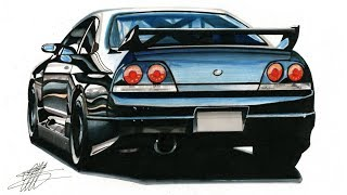 Realistic Car Drawing - Nissan Skyline GT-R R33 - Time Lapse
