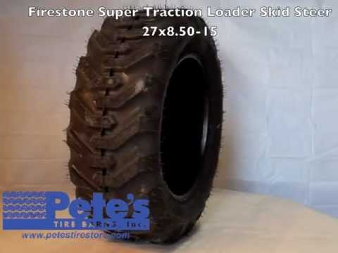 Firestone I-3 Super Traction Loader Skid Steer Tire 27x8.50-15