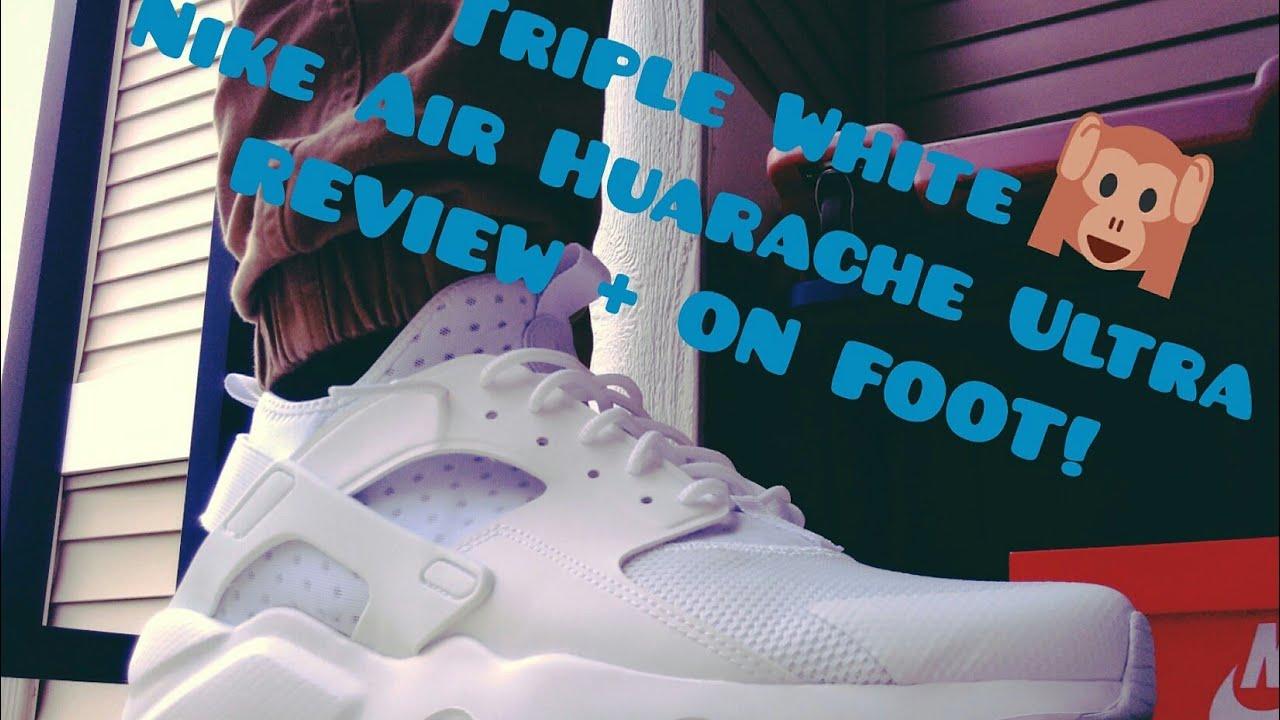 nike huarache triple white on feet