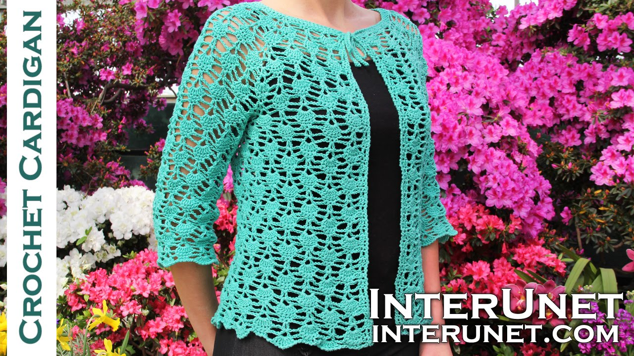 Crochet lace summer top - front tie cardigan crochet pattern. Part ...