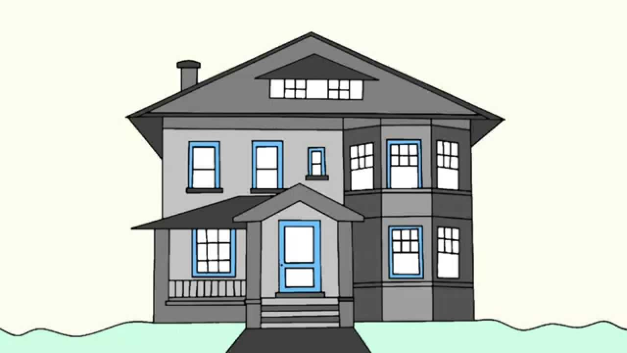 How to draw a house step by step for beginners youtube for How to draw a two story house step by step