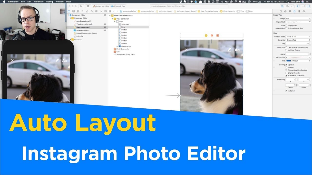 Instagram Photo Editor Auto Layout in Xcode 9 with Swift 4