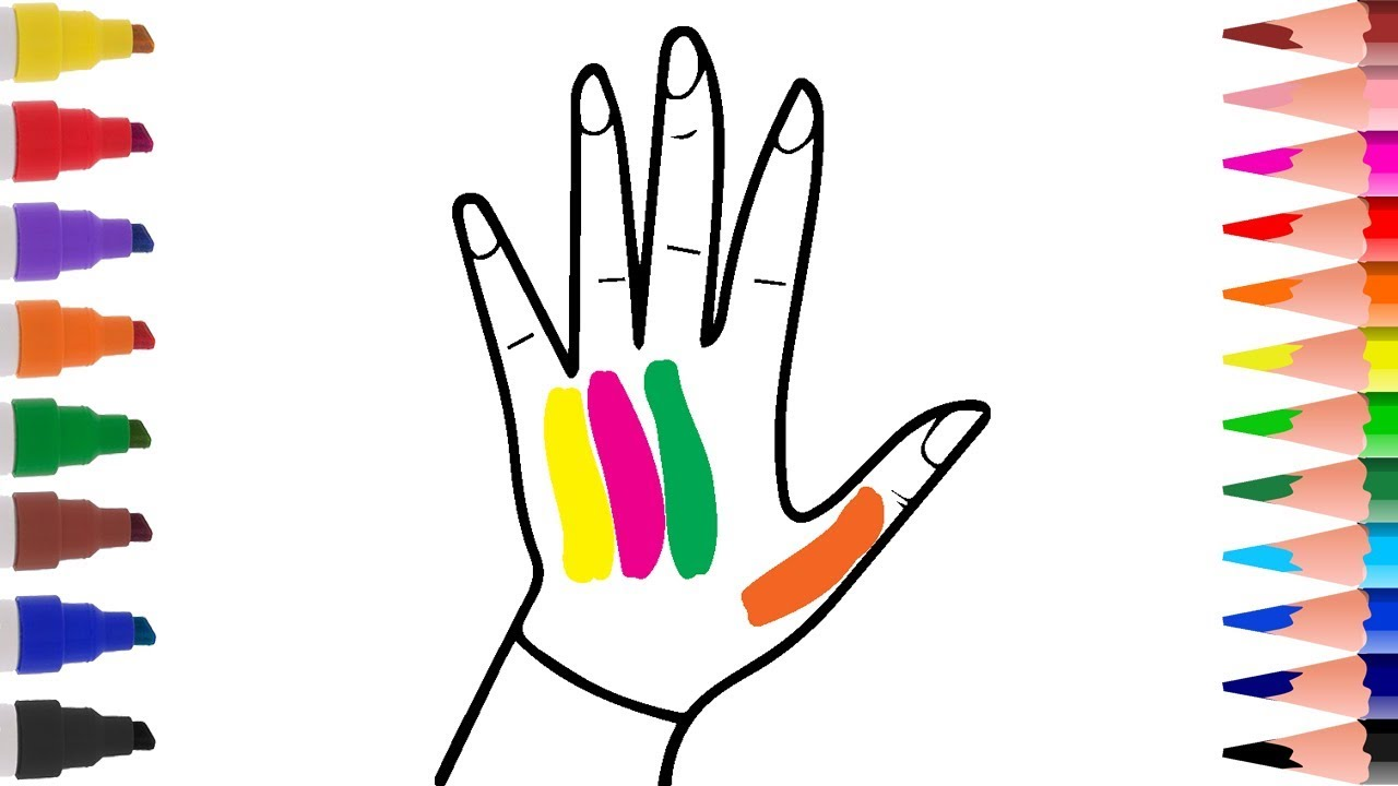 coloring pages how to draw hands rainbow coloring book learn color