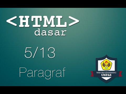 HTML Dasar : Paragraf (5/13)