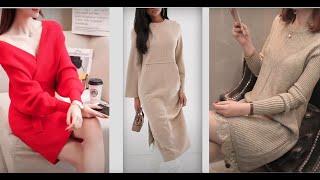 Модные Трикотажные Платья 2021 Вязанные Платья