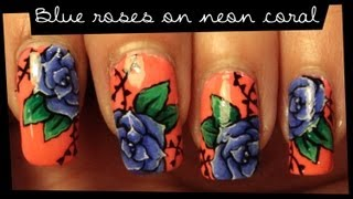 Blue Roses On Neon Coral nail art