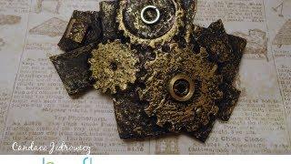 How to Make a Burned Glue Steampunk Barrette by Candace Jedrowicz