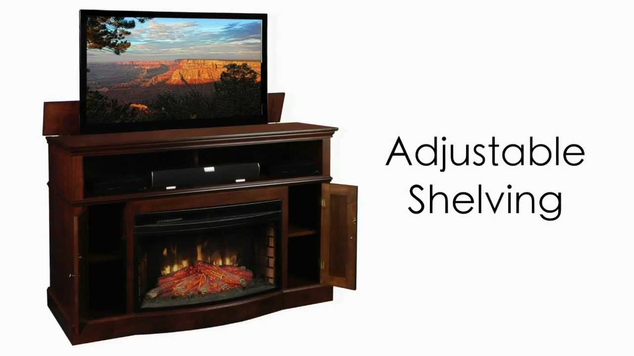 huntington tv lift cabinet with electric fireplace youtube