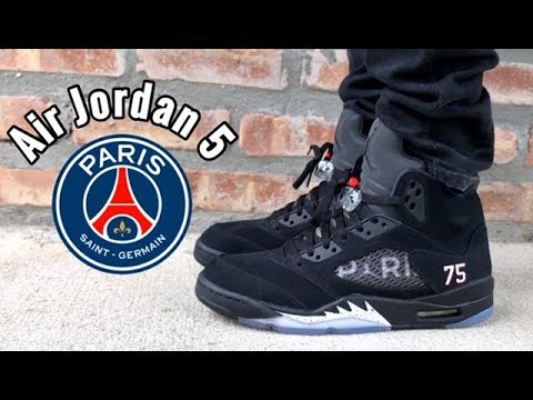"new arrival 39899 b9e21 Air Jordan 5 PSG ""Paris Saint Germain"" On Feet"