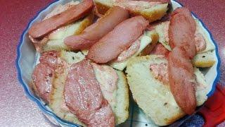 Быстрые бутерброды с колбасой и сыром