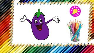 How to Draw Eggplant for Kids | Step by #Step Easy Tutorial | Vegetable Coloring Page for #Kids