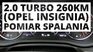 Opel Insignia 2.0 Turbo 260 KM (AT) - pomiar zużycia paliwa