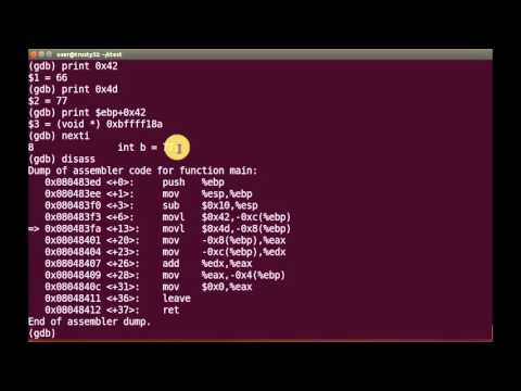GDB Debugging: Examine x86 addition Instructions using C and gdb on 32 bit Linux