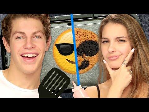 Emoji Pancake Art Challenge FAIL w Lexi Rivera & Ben Azelart  Griddle Me This