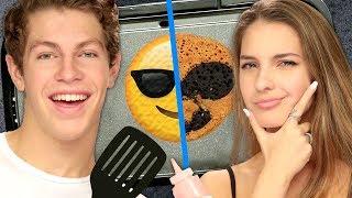 Emoji Pancake Art Challenge FAIL w/ Lexi Rivera & Ben Azelart | Griddle Me This