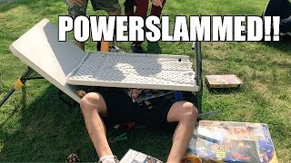 TABLE OF WWE TOYS DESTROYED by POWERSLAM at YARD SALE!!