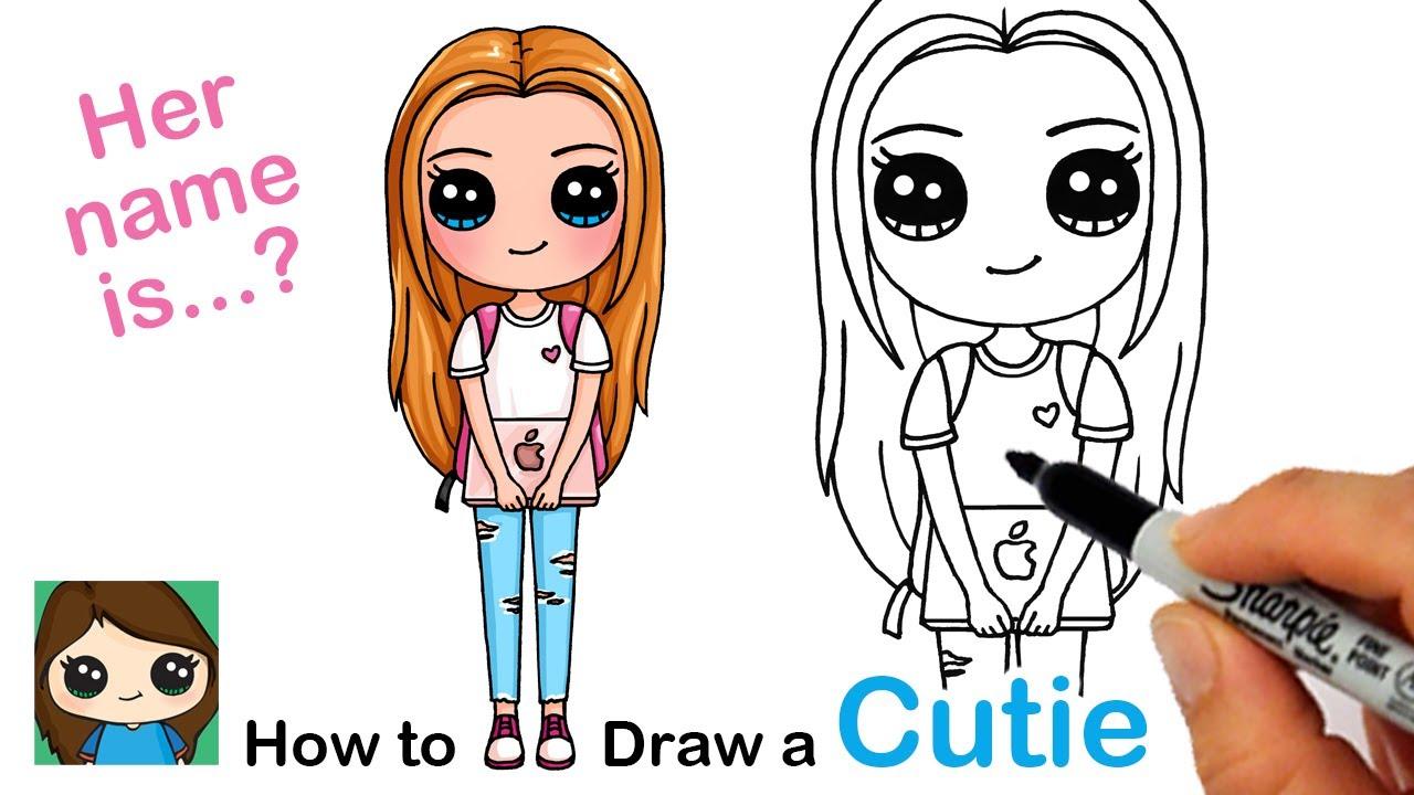 How To Draw A Cute Back To School Girl Easy 2 Youtube Kawaii Drawings Cute Drawings Cute Art