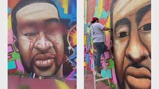 George Floyd mural in downtown Houston defaced