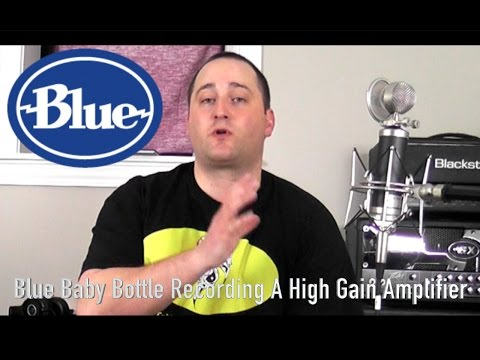 Blue Baby Bottle Condenser Microphone Recording A Heavy Guitar Amp
