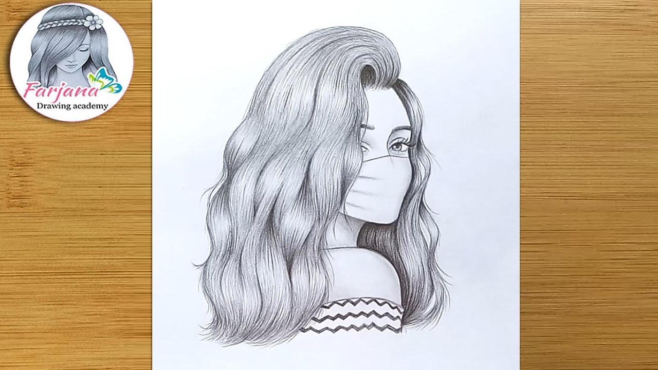 A Girl Wearing a Mask - Pencil Sketch || How to draw a girl ||  Maskeli bir kız nasıl çizilir
