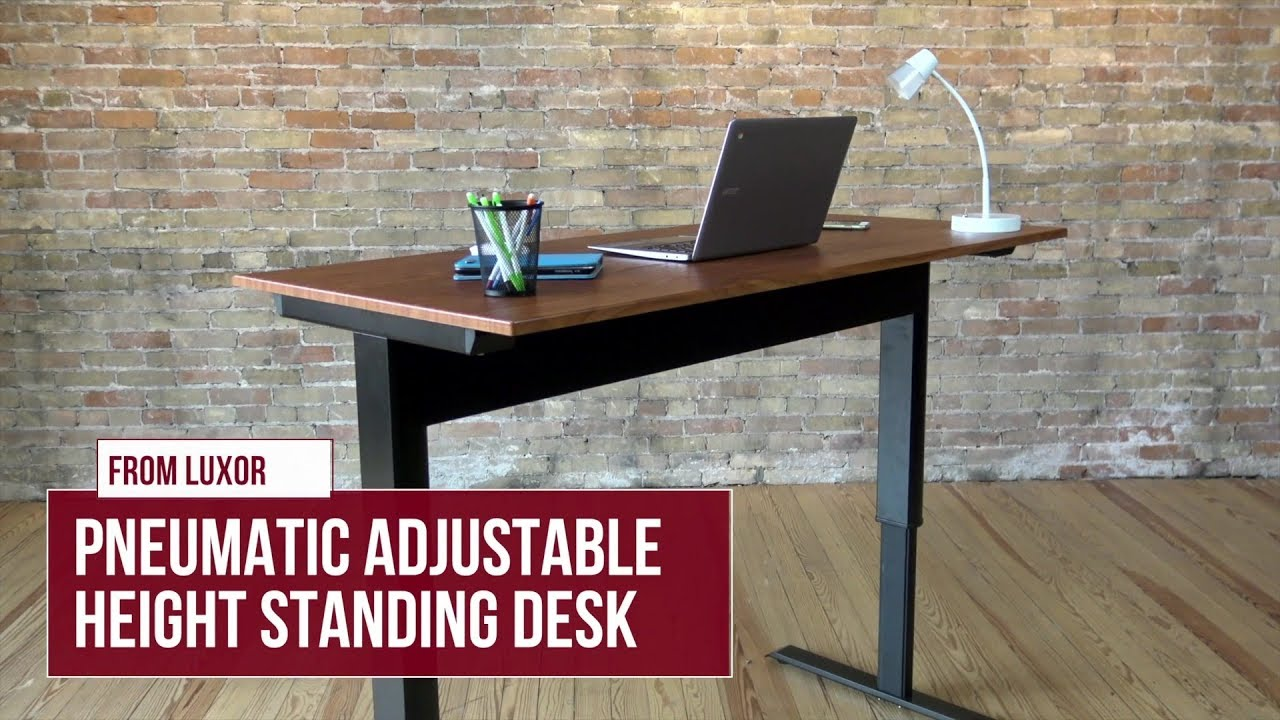 Luxor Pneumatic Adjustable Height Standing Desk Black
