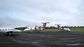 Skytrans Airlines Dash-8-100 VH-QQJ Taxiing to Parking at Clermont Aerodrome