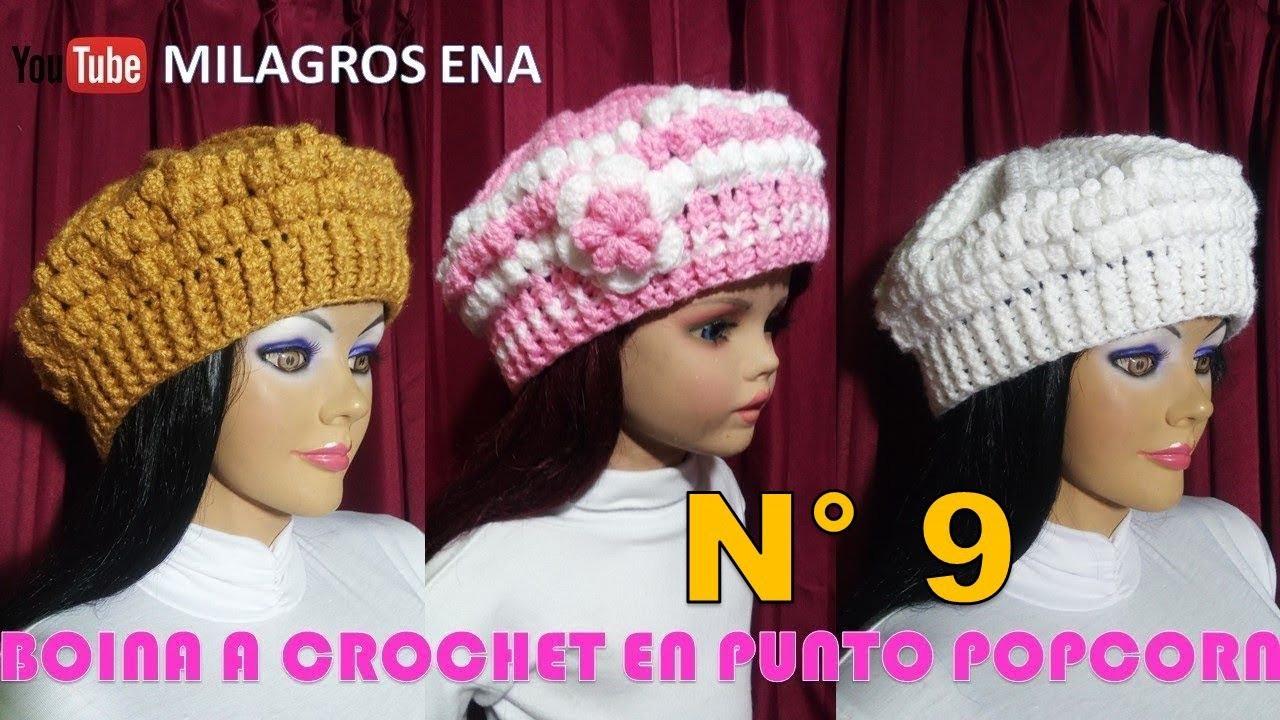 0daace87028b3 Boina a crochet paso a paso en puntos POPCORN y ELÁSTICO para diferentes  edades
