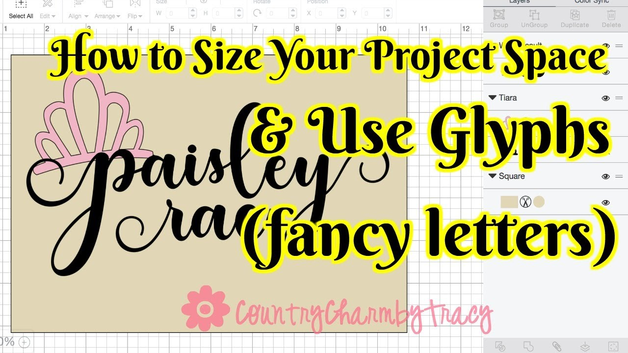 How To Use Glyphs Fancy Letters And Size Your Project Space