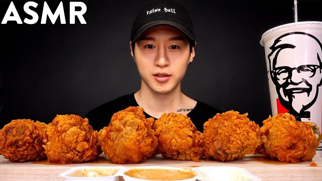 Asmr Kfc Nashville Hot Fried Chicken Mukbang No Talking Eating Sounds Zach Choi Asmr