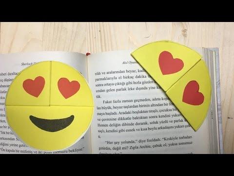 """Emoji Kitap Ayracı Nasıl Yapılır """" kalpli gözler """" Kendin Yap"""