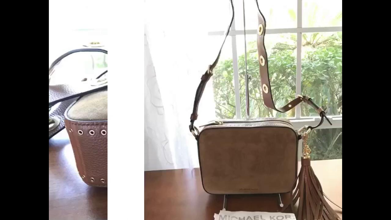 ca47a0b857ea MICHAEL Michael Kors Brooklyn Suede leather Large Camera Bag-DARK CARAMEL