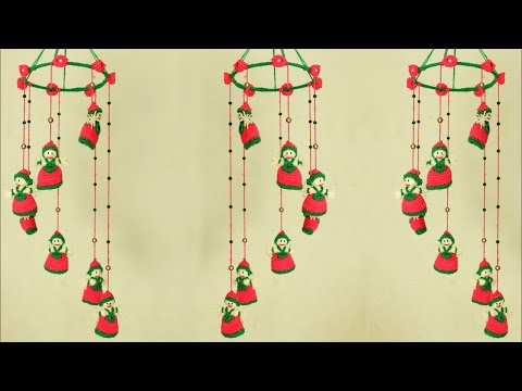 Doll Hanging Jhumar Making With Crochet | Woolen Craft | DIY Wall Hanging at Home 2018 || Handmade