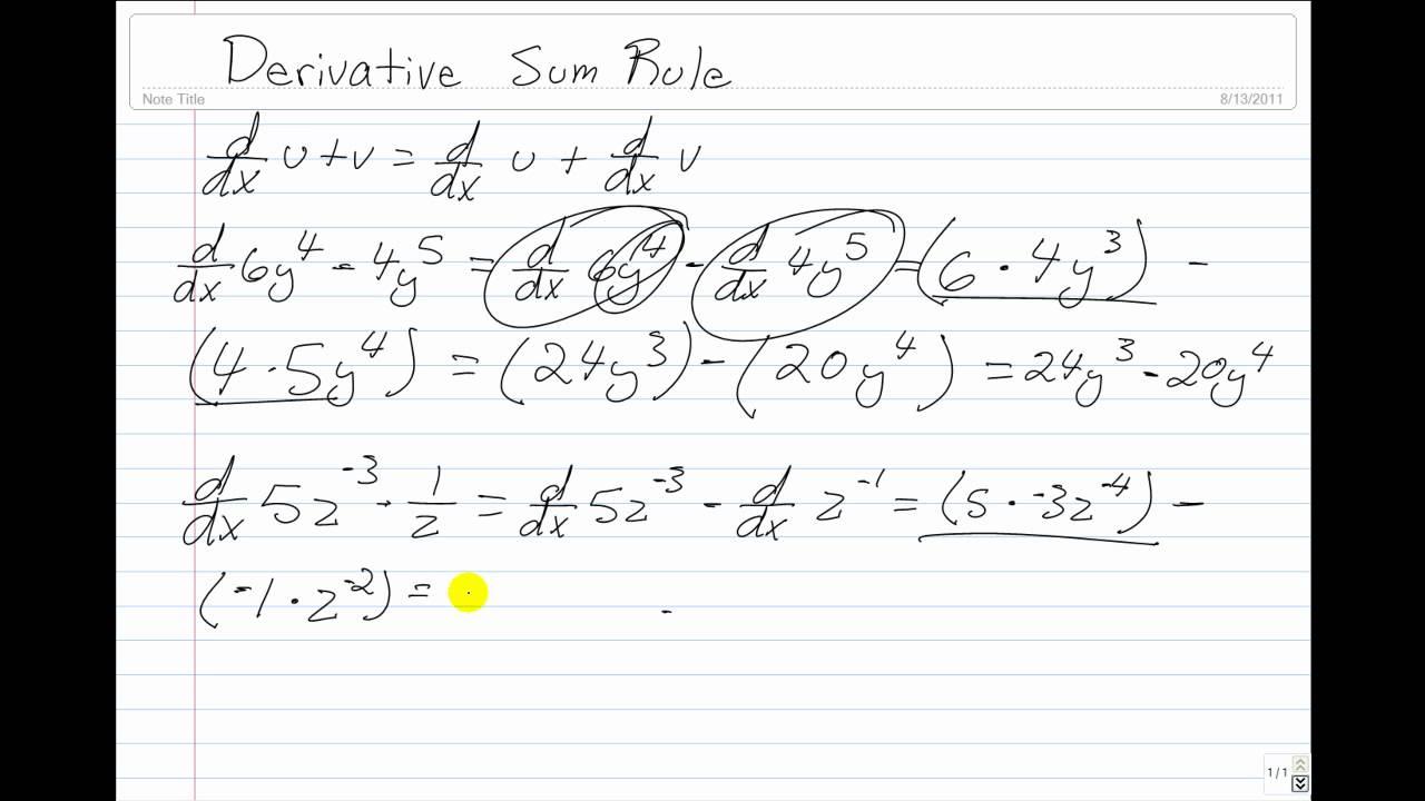 Derivatives: Sum Rule - YouTube