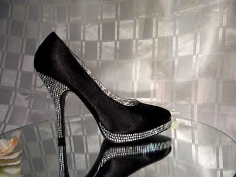 fc6253ed8b5df2 Rhinestone Diamante Evening Shoes in Black Satin - Crystal-Couture-Shoes.co.uk  Ladies Evening Shoe - YouTube