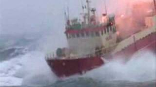Trawler in rough sea