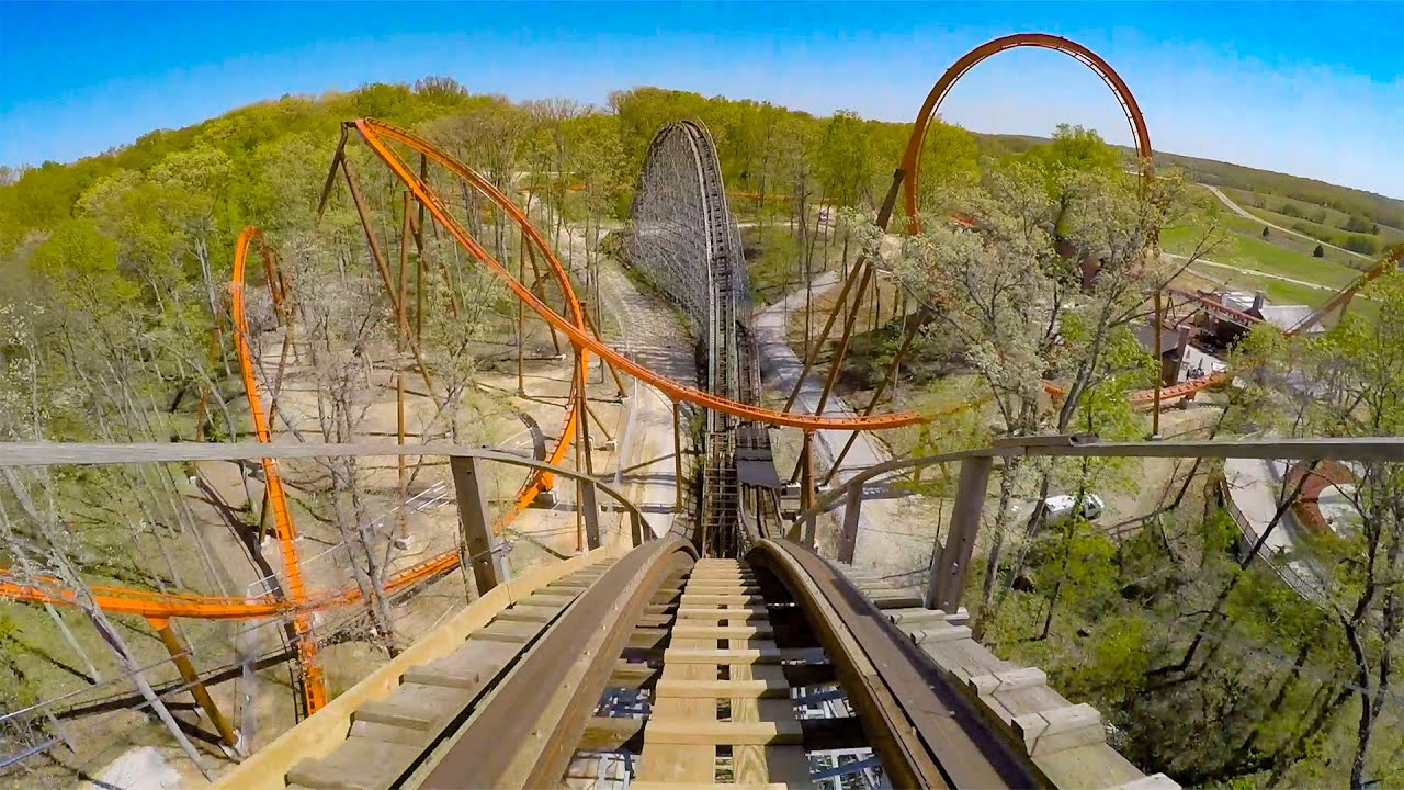 Worlds Only Thanksgiving Roller Coaster! The Voyage at Holiday World   Multi Angle POV