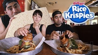 DUEL 48 OZ BURGER CHALLENGE AND GIANT RICE CRISPY TREAT