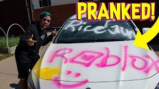 SPRAY PAINTING ROBLOX LOGO ON MY ROOMMATES CAR! (Roblox IRL)
