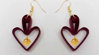 Quilling earrings | Heart shape Quilling earrings making tutorials