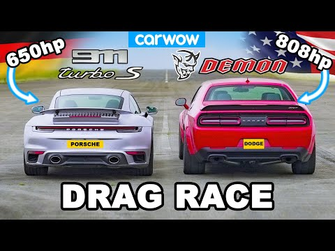 Dodge Challenger Demon v Porsche 911 Turbo S – DRAG RACE