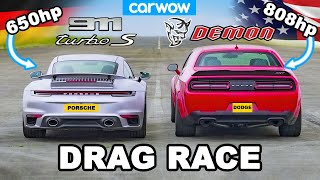 Dodge Challenger Demon v Porsche 911 Turbo S - DRAG RACE