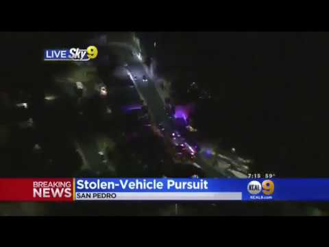 Los Angeles Police Chase stolen BMW with no plates (Nov. 10, 2017)