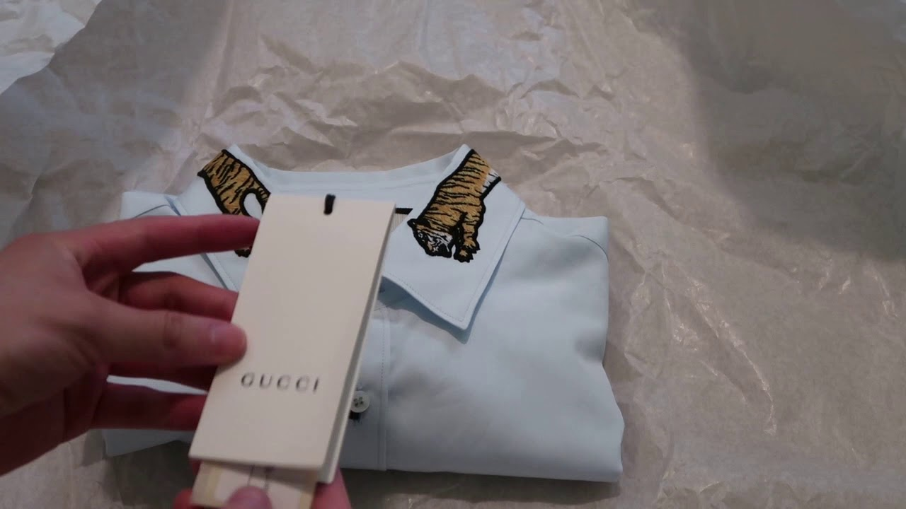75d2a507 Gucci Duke Tiger-Embroidered Shirt Pickup/Unboxing - YouTube