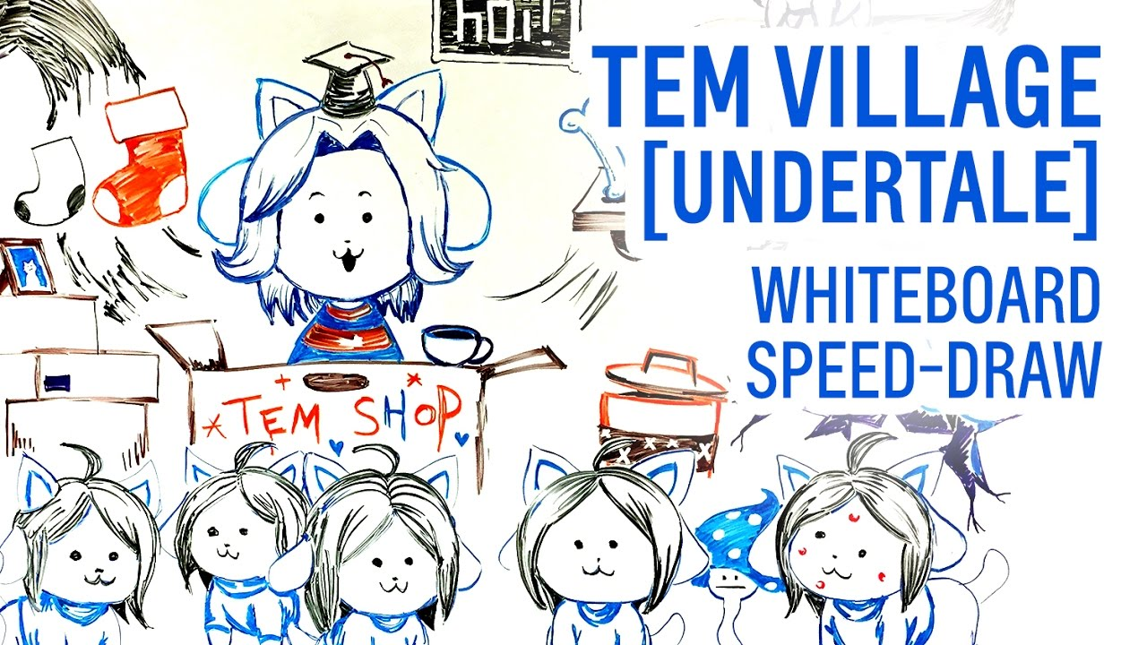 Tem village undertale whiteboard speed draw youtube for Stuff to draw on a whiteboard