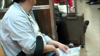 Gang Stalker caught videotaping me and my bags inside MTA's R Train 5 25 15