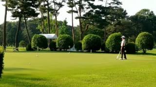 12歳、相模原ゴルフクラブで神奈川アマ決勝前のパター練習