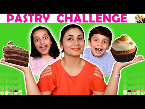 PASTRY CHALLENGE Blindfold eating Cake Challenge | Aayu and Pihu Show