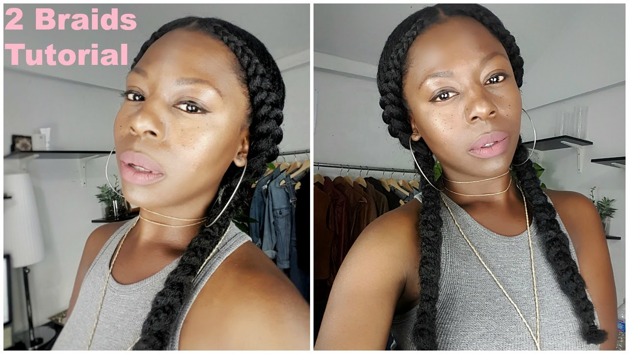 4c Hairstyles Braids: Two Braid Tutorial (With Weave) On 4c Hair