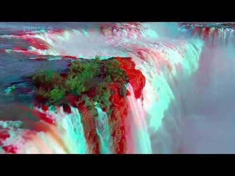 Самый величественный и красивый водопад в мире  3 д (анаглиф)